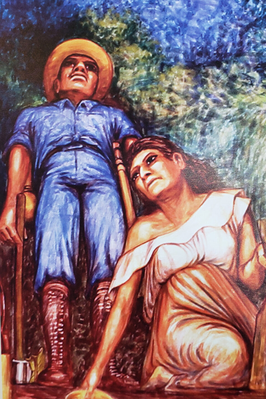 Hombre y mujer trabajadores del mural de Elio Carmichael