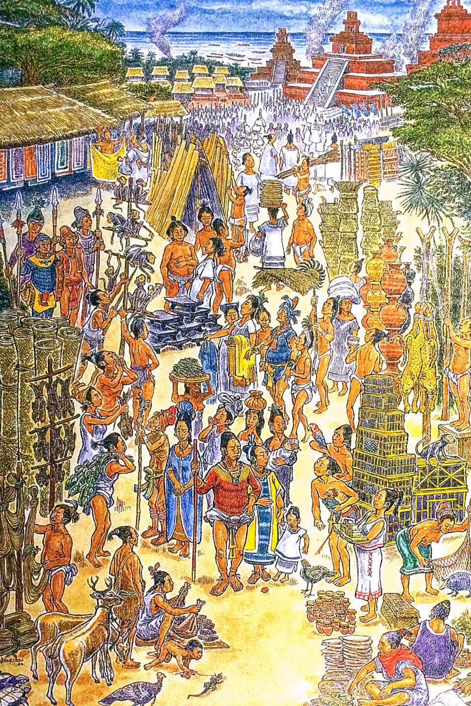 Reconstrucción de un mercado de Isla Cozumel. Ilustración: Raúl Velázquez Olivera