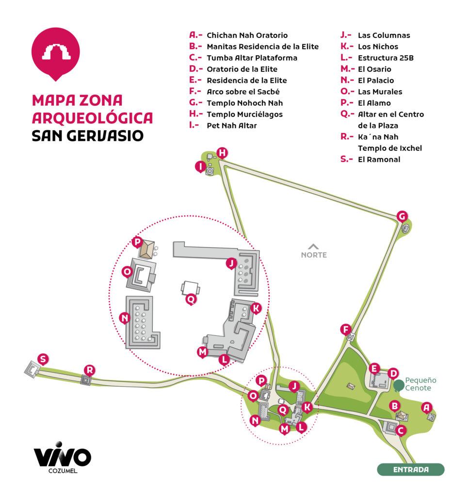 Mapa sitio arqueológico san gervasio en cozumel