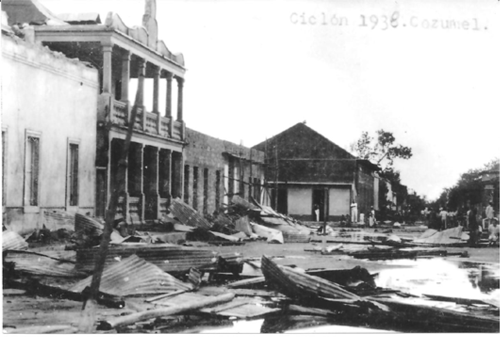 devastación por huracan en 1938 en Cozumel