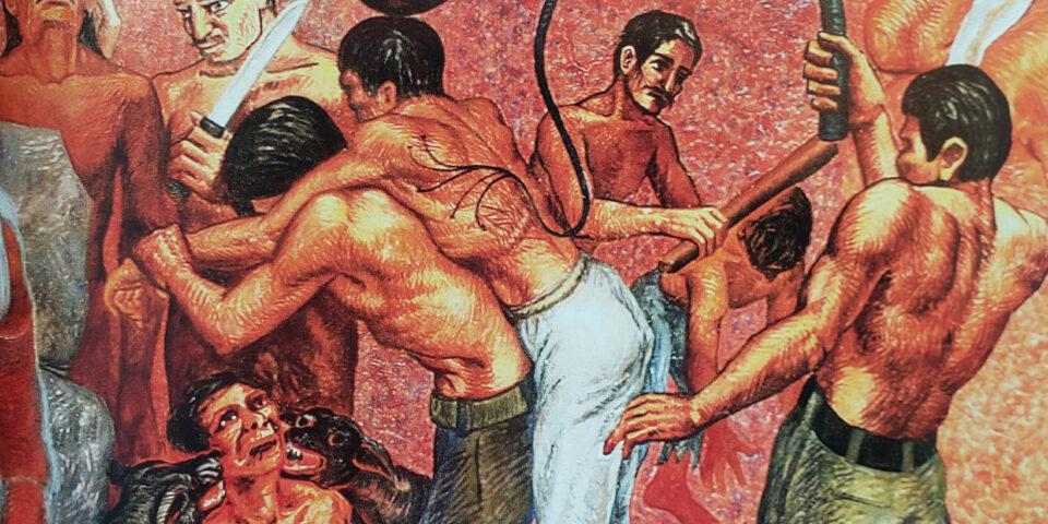 Los pobres bajo la furia del poder del Mural de Elio Charmichael en el congreo del estado de quintana roo