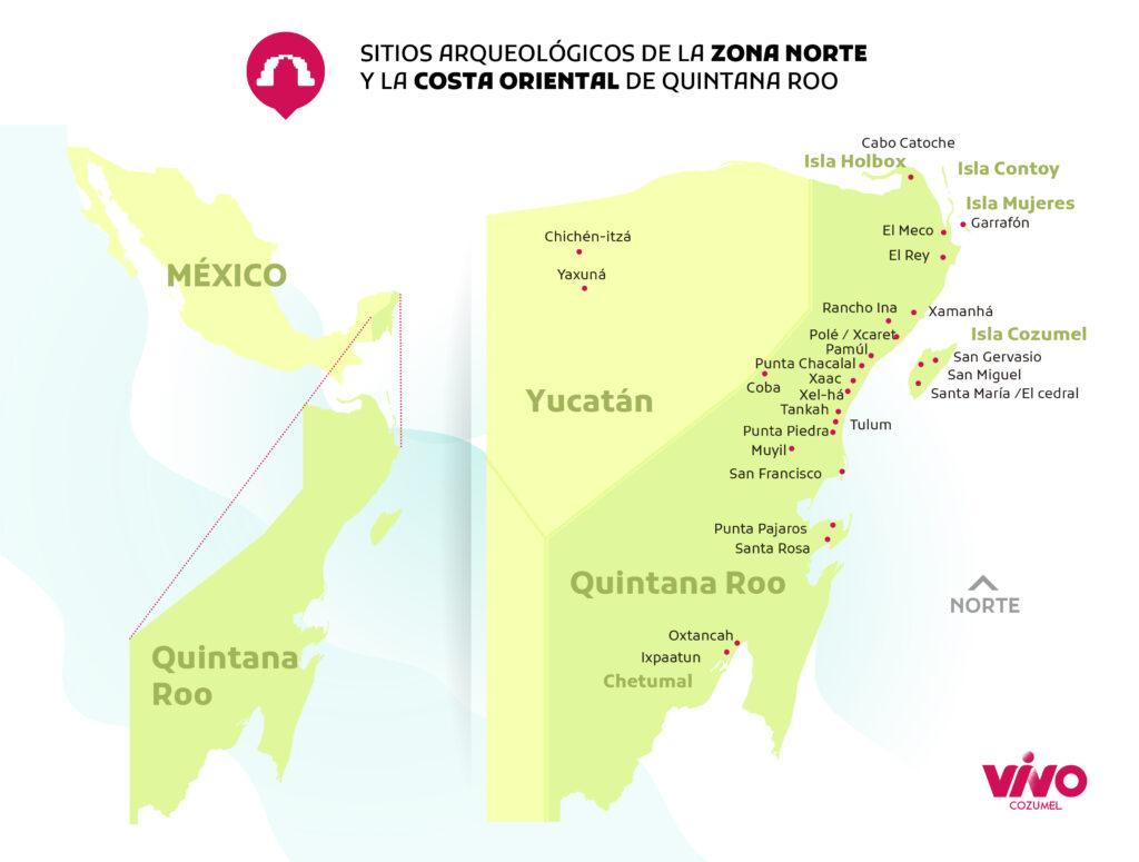 sitios arqueológicos mayas de la costa oriental y zona norte de quintana roo