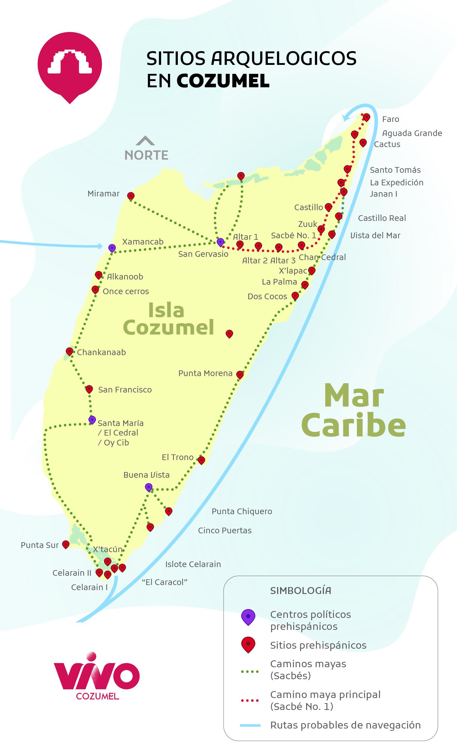 mapa sitios arqueologicos en cozumel
