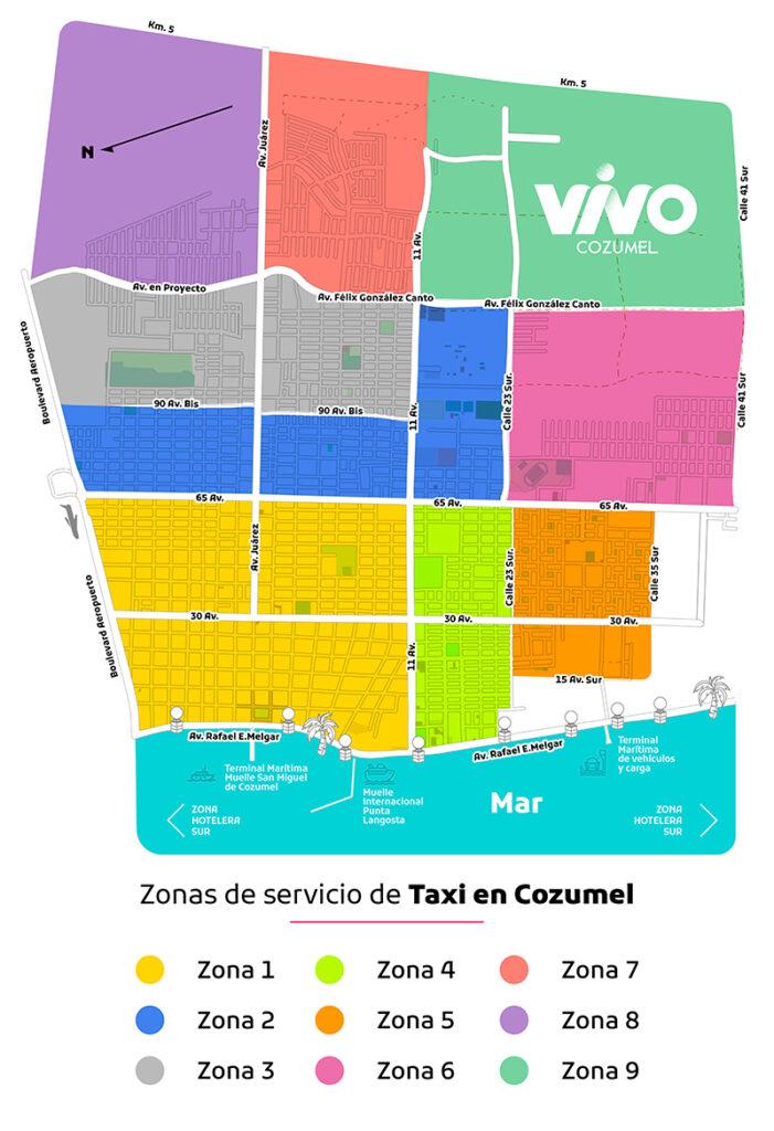 MAPA DE ZONAS SERVICIO DE TAXI EN COZUMEL, VIVO COZUMEL